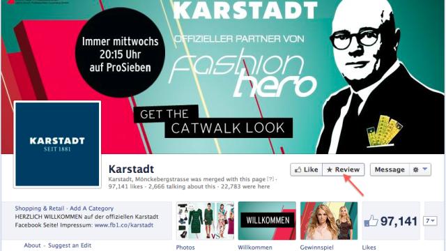 Facebook Page Karstadt mit neuem Rezensieren-Button